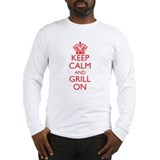 Keep Calm and Grill On Red Long Sleeve T-Shirt