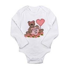 Funny I heart my girls Long Sleeve Infant Bodysuit
