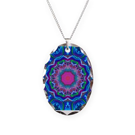 Cyberdelic Kaleidoscope Necklace Oval Charm