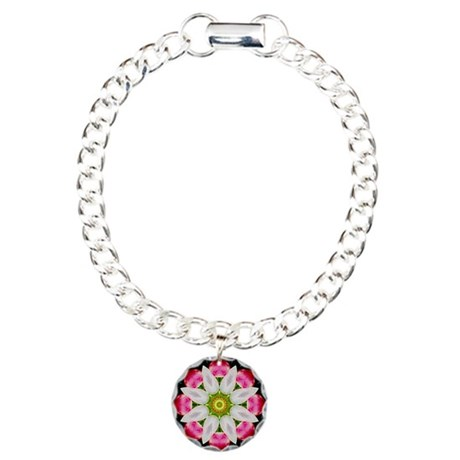 White Flower Charm Bracelet, One Charm