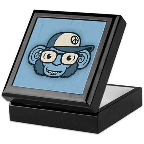 Chimpanzee in Blue Keepsake Box