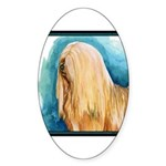 Lhasa Apso Painting Designer Oval Sticker