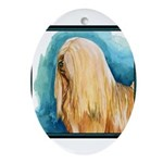 Lhasa Apso Painting Designer Oval Ornament