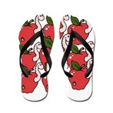 Comical Worms and Apples Flip Flops