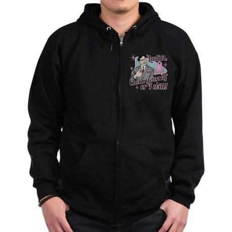 Check Yourself Breast Cancer Zip Hoodie (dark)