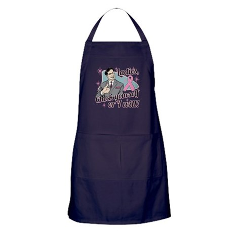 Check Yourself Breast Cancer Apron (dark)