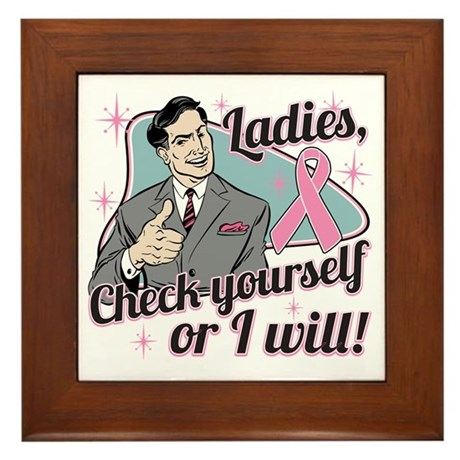 Check Yourself Breast Cancer Framed Tile