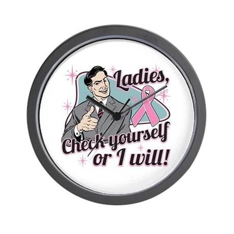 Check Yourself Breast Cancer Wall Clock