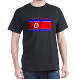 North Korea Korean Flag Black T-Shirt