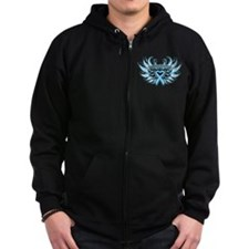 Prostate Cancer Heart Wings Zip Hoodie