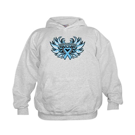 Prostate Cancer Heart Wings Kids Hoodie