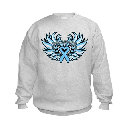Prostate Cancer Heart Wings Kids Sweatshirt