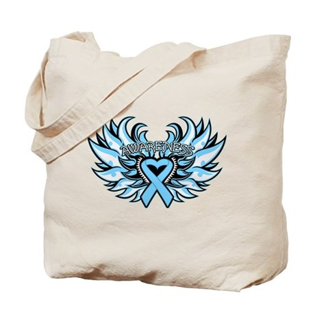 Prostate Cancer Heart Wings Tote Bag