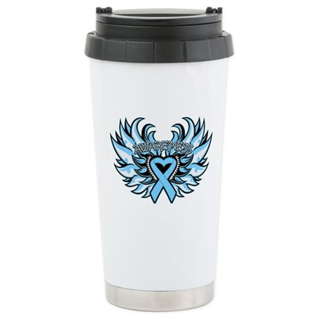 Prostate Cancer Heart Wings Ceramic Travel Mug