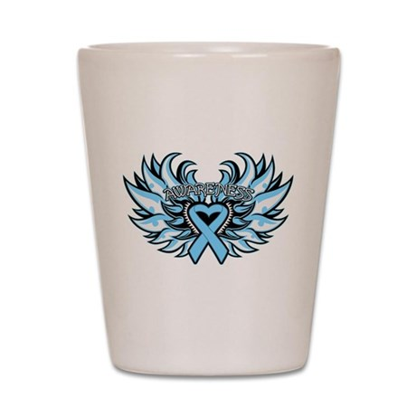Prostate Cancer Heart Wings Shot Glass
