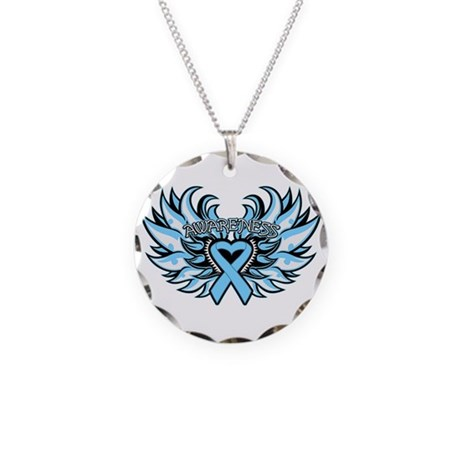 Prostate Cancer Heart Wings Necklace Circle Charm