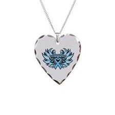 Prostate Cancer Heart Wings Necklace Heart Charm
