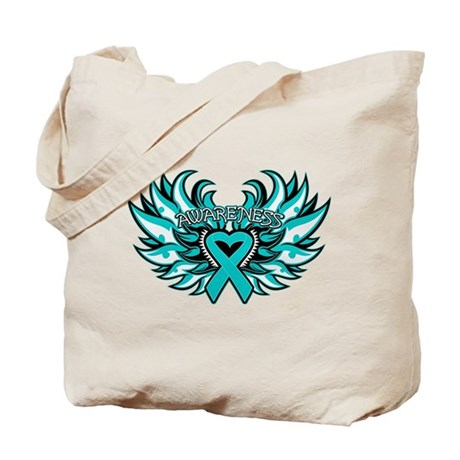 Peritoneal Cancer Heart Wings Tote Bag