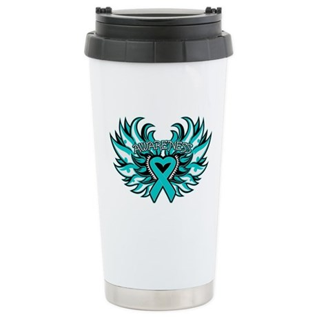 Peritoneal Cancer Heart Wings Ceramic Travel Mug