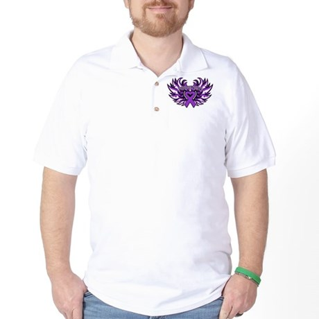 Pancreatic Cancer Heart Wings Golf Shirt