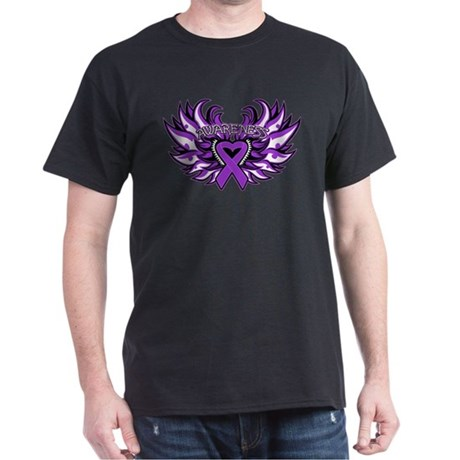 Pancreatic Cancer Heart Wings Dark T-Shirt