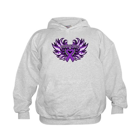 Pancreatic Cancer Heart Wings Kids Hoodie