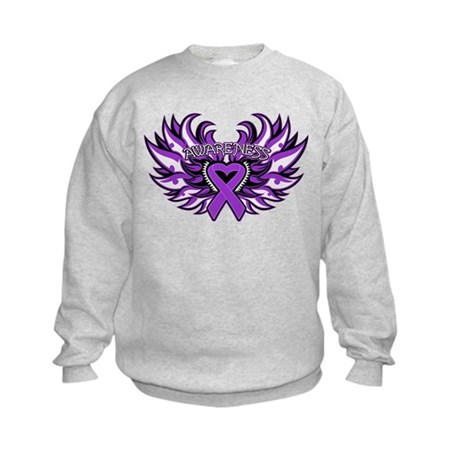 Pancreatic Cancer Heart Wings Kids Sweatshirt