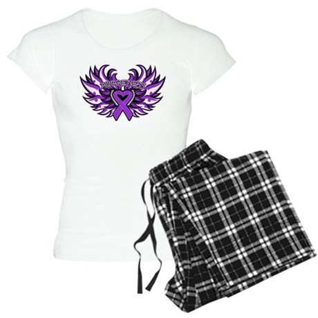 Pancreatic Cancer Heart Wings Women's Light Pajama