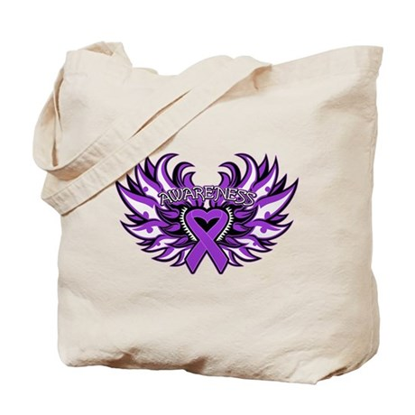 Pancreatic Cancer Heart Wings Tote Bag