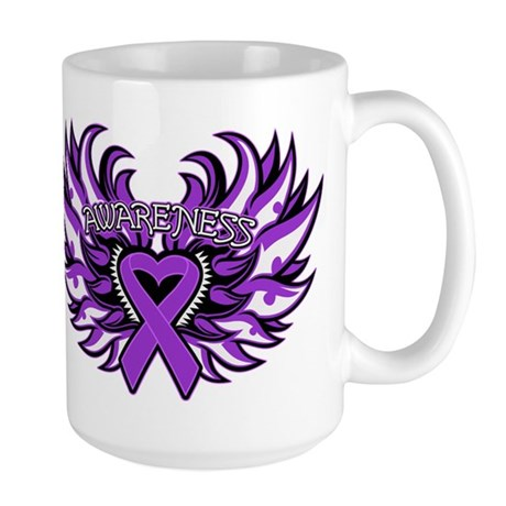 Pancreatic Cancer Heart Wings Large Mug