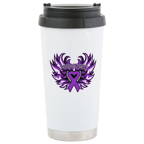 Pancreatic Cancer Heart Wings Ceramic Travel Mug