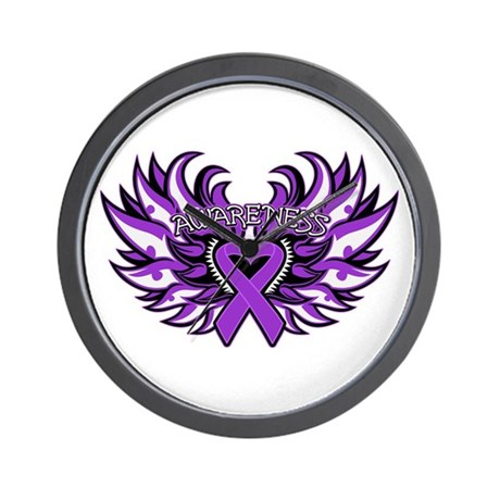 Pancreatic Cancer Heart Wings Wall Clock