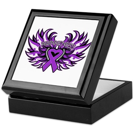 Pancreatic Cancer Heart Wings Keepsake Box