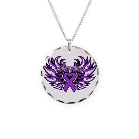 Pancreatic Cancer Heart Wings Necklace Circle Char
