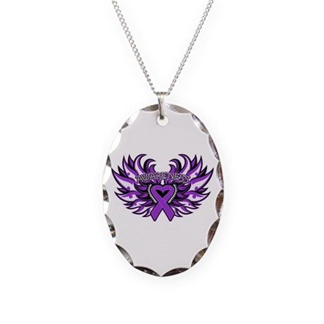 Pancreatic Cancer Heart Wings Necklace Oval Charm