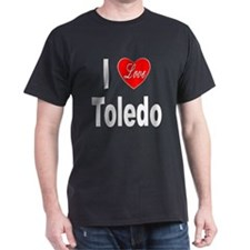 I Love Toledo Ohio (Front) Black T-Shirt