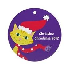 Personalized Whimsical Cat Christmas Ornament
