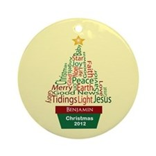 Personalized Word Christmas Tree Ornament