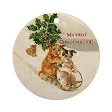 Victorian Personalized Dog Sledding Ornament