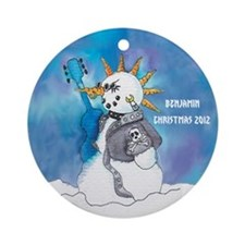 Personalized Punk Rocker Snowman Ornament
