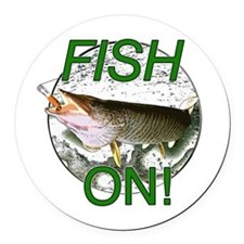 Musky fish on! Round Car Magnet