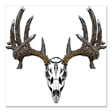 "Whitetail deer skull Square Car Magnet 3"" x 3"""