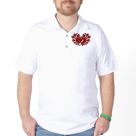 Oral Cancer Heart Wings Golf Shirt