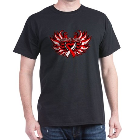 Oral Cancer Heart Wings Dark T-Shirt