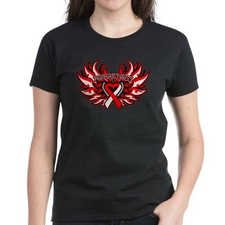 Oral Cancer Heart Wings Women's Dark T-Shirt
