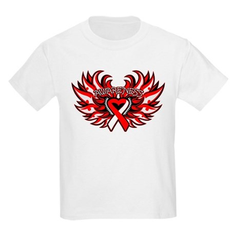 Oral Cancer Heart Wings Kids Light T-Shirt