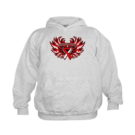 Oral Cancer Heart Wings Kids Hoodie