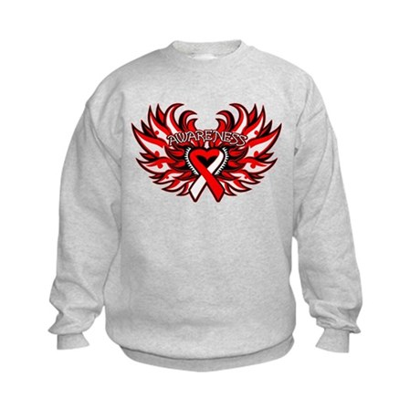 Oral Cancer Heart Wings Kids Sweatshirt