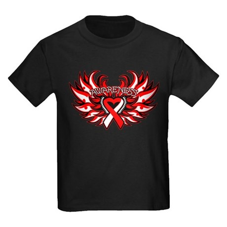 Oral Cancer Heart Wings Kids Dark T-Shirt