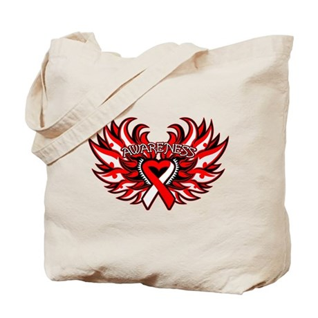 Oral Cancer Heart Wings Tote Bag